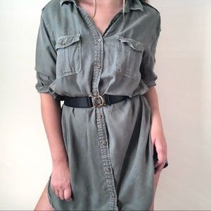 American Eagle khaki button down shirt dress - XL